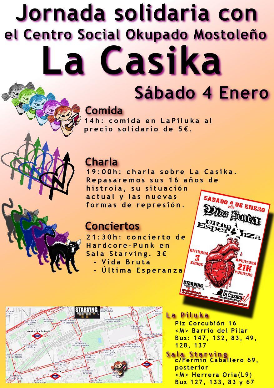 El sábado 4 de enero organizamos una jornada de solidaridad con el centro social okupado autogestionado La Casika, de Móstoles. Tras 16 años de resistencias, la CasiKa está otra vez […]