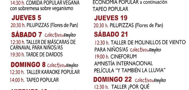 En el centro social La Piluka. Plaza de Corcubión, 16 Metro: B. del Pilar/Peñagrande Bus: 147, 42, 49, 83, 132. mapa 1 domingo 12:30 mercadillo gratis 14:30 comida popular Vegana […]