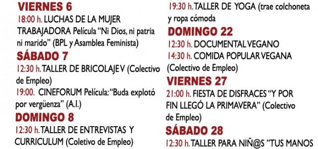 Todo enel centro social La Piluka Plaza de Corcubión, 16 Metro: B. del Pilar/Peñagrande Bus: 147, 42, 49, 83, 132. mapa  Día 01 de Marzo Domingo12.30horas Mercadillo gratuito.(Colectivo de […]