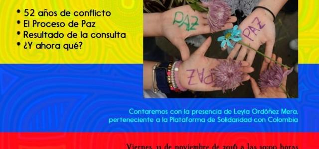 viernes 11 de noviembre de 2016 a las 19:00 Colombia: El Proceso de Paz. en la Escuela Popular de Personas Adultas