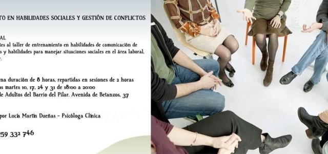 """Lucía Martín se ha ofrecido a dar un taller en la escuela al que ha puesto el título de """"Entrenamiento en habilidades sociales y gestión de conflictos"""". Comenzará el 10 […]"""