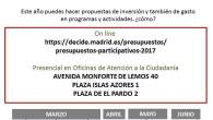 + SABADO 18 de febrero, sábado, hablamos de presupuestos participativos en la plazoleta de la escuela de adultos (Avda. de Betanzos, 37). Barrio del Pilar