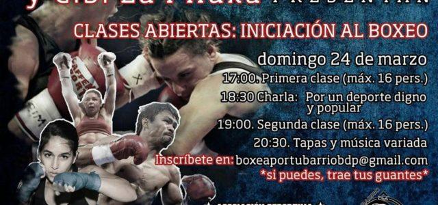 Domingo 24 de marzo, desde las 17 horas: clases de boxeo, charla, tapeo y buen ambiente, con la Escuela Deportiva Atalaya.