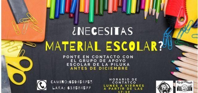 ¿Necesitas material escolar? Ponte en contacto con el Grupo de Apoyo Escolar de La Piluka durante este mes de noviembre.