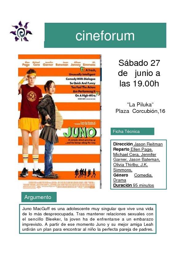 El sábado 27 de junio a las 19 h. en el Cineforum de la Piluka pasaremos la película «Juno» una película que aborda con naturalidad y sin traumas el embarazo […]